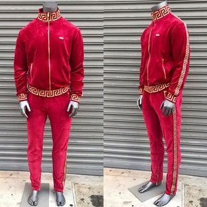 Fashion Other Mens Burgundy Velour Tracksuit Poshmark